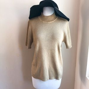 Susan Graver Metallic Gold Mock Neck Knit Top